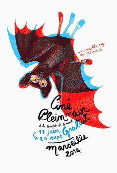 Festival du Ciné en Plein Air 2014, Marseille (créa Sabine Allard) #festival #affiche #affichefestival #marseille