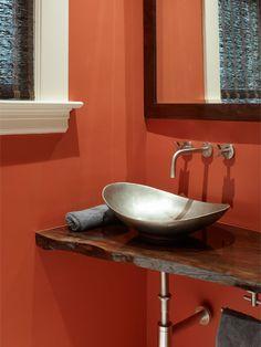 wood slab vanity bathroom design ideas pictures remodel and decor powder room pinterest. Black Bedroom Furniture Sets. Home Design Ideas