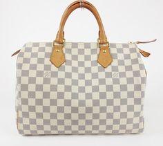 Louis Vuitton White Speedy 30 Handbag Damier Azur Tote Bag $785