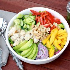 Chopped mango chicken salad with jalapeño cilantro vinaigrette tastes as pretty as it looks!