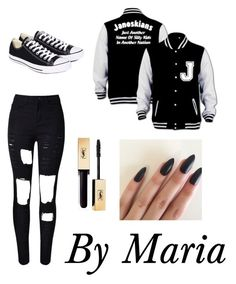 """Janoskians 223"" by soulaapst ❤ liked on Polyvore featuring WithChic, Converse, white, black, blackandwhite and janoskians"
