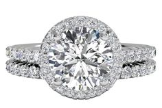 French-Set Halo Diamond Band Engagement Ring with matching band - in Platinum (0.99 CTW)