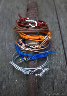 Leather hook bracelets in bright colors