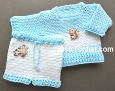 Free baby crochet pattern for sweater and pants set http://www.justcrochet.com/woven-sweater-pants-usa.html #justcrochet