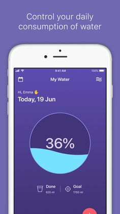 It's a home screen the iOS app My Water - Daily Tracker. This app helps you to stay fit and hydrated. Also, you can control your daily consumption of water via this app. Daily Water, Ios App, Homescreen, Stay Fit, Web Design, Learning, Phone, Keep Fit, Design Web