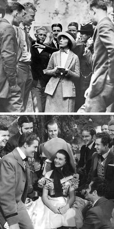 At top is a 1920s photo of Margaret Mitchell, author of Gone With the Wind, with students at Georgia Tech. Below is a 1939 photo of Margaret Mitchell's famous character, Scarlett O'Hara, on the set of Gone With the Wind.