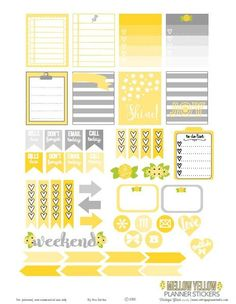 Hello blog followers and visitors! Well, it's a new week and I decided to go into a completely different direction and I designed these yellow and grey planner stickers. I designed this set of planner