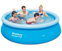 Family Pool 8ft Inflatable Ring Kids Swimming Paddling Portable Garden Bestway