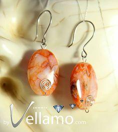 Earrings with opal gemstones sterling silver wire by byVellamo