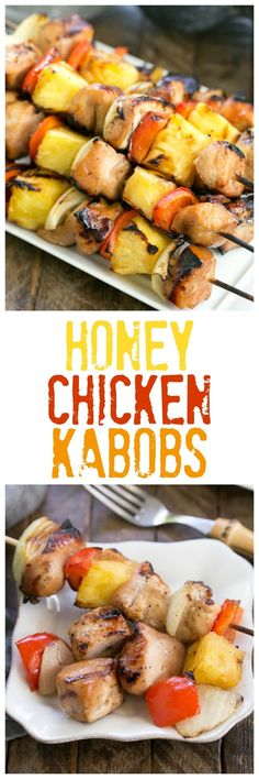 Honey Glazed Chicken Kabobs | Marinated chicken, veggies and pineapple are grilled to perfection! @lizzydo