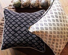 Set of 2 Black & White Hand Block Printed Cotton by TIWcompany