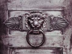 Lion Head and Ring Door Knocker with Artistic Flourish Detail  -  Birmingham Hall Of Memory, Centenary Square, England  UK