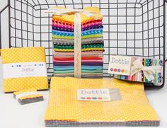 Dottie dots are now in shops.  Fun tiny, small and medium dots.  See whole line click link below,  for free pattern click here  http://blog.modafabrics.com/funfree/free-patterns/