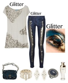 """""""Casual Chic Glitter Outfit"""" by im-karla-with-a-k ❤ liked on Polyvore featuring Balmain, Valentino, Charlotte Russe, Dolce&Gabbana and Bavna"""