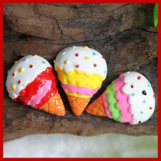 SALE 6 pcs flat back resin cabochon ice cream R2800 by AboveDeluxe, $2.40