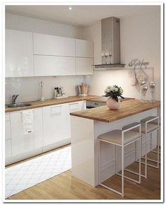 45 suprising small kitchen design ideas and decor 5 - Küche Ideen Kitchen Room Design, Modern Kitchen Design, Home Decor Kitchen, Interior Design Kitchen, Home Design, New Kitchen, Home Kitchens, Kitchen Dining, Design Ideas