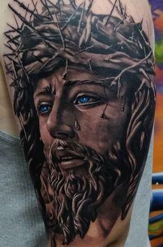 Jesus Tattoos - Tons of Jesus Tattoo Designs & Ideas - Tattoo Me Now Jesus Tattoo On Arm, Jesus Tattoo Sleeve, Religious Tattoo Sleeves, Jesus Tattoo Design, Sleeve Tattoos, Heaven Tattoos, God Tattoos, Body Art Tattoos, Cool Forearm Tattoos
