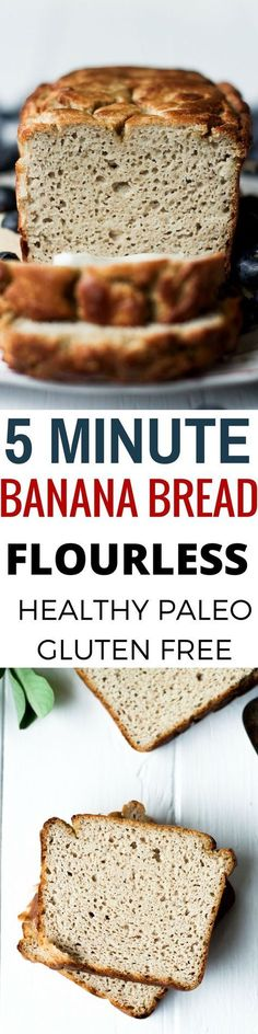 Best Healthy Flourless 5 Minute Banana bread. Easy Paleo Breakfast recipe. Delicious gluten free bread.