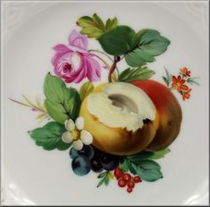 Beautiful Reticulated Meissen Plate w Hand Painted Flowers Fruit