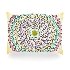 "Famenxt ""Leafy Watercolor Mandala"" Pastels Abstract Outdoor Throw Pillow"