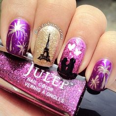 Lovers in Paris. Nail Art. Nail Design. Polishes. Polish. Polished. Glamour. Pink. Love. Julep. Glitter. Eiffel Tower.