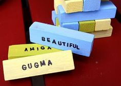 A shapie and Jenga? craft project to do for trilingual learning.