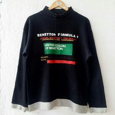 "Vintage Rare BENETTON Formula 1 United Colors of Benetton Sweatshirt Jumper Pullover Size M VSS353 Tag reads: BENETTON Formula 1 (M) Chest (below armpit to other below armpit): 22.5"" inches Front length of shirt (top of shoulder to bottom of product): 27"" inches Condition: Vintage pre owned condition. Commonly slightly faded due to ages and use. ** WE ARE USING DHL EXPRESS,PLEASE LEAVE YOUR PHONE NUMBER ON THE NOTE WHILE MAKE A PURCHASE** If you have any questions, feel free to message ..."