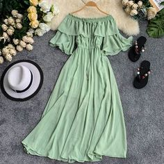 Lucuna Off Shoulder Short-Sleeve Midi A-line Dress Mode Outfits, Dress Outfits, Girl Outfits, Fashion Dresses, Maxi Dresses, Pretty Outfits, Pretty Dresses, Beautiful Dresses, Stylish Dresses
