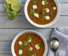 Recipe Black bean tomato soup with coriander lime cream by Thermomix in Australia, learn to make this recipe easily in your kitchen machine and discover other Thermomix recipes in Soups. Black Bean Soup, Black Beans, Thermomix Soup, Soup Recipes, Vegetarian Recipes, Lime Cream, Soup Beans, Paleo Soup, Recipe Community