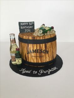 Scotch on the Rocks Chocolate Cake with Whiskey Buttercream in a wood grain effect Jameson Whiskey Barrel