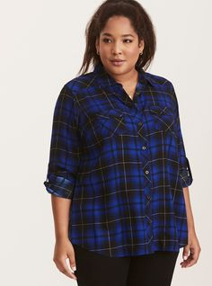 """<div>A camp shirt borrowed-from-the-boys (but wayyy better). Black and cobalt blue plaid is a sleek take on tartan, with silky challis lending sophistication. Button tab sleeves, button down front, button tab breast pockets; try to get us to button up about this one.</div><div><br></div><div><b>Model is 5'10"""", size 1</b></div><div><ul><li style=""""list-style-position: inside !i..."""