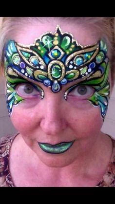 Diamond and jewel headdress face painting