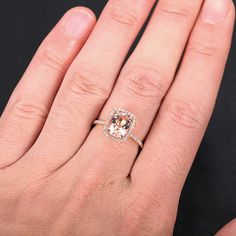 Morganite Engagement Ring Cushion Halo Diamonds Oval by TheLOGR