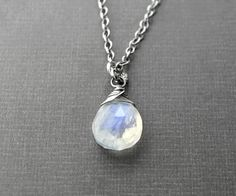 Moonstone Necklace with Oxidized Sterling by AllureStudioWorks