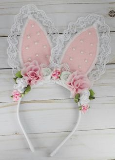 "Bunny Ears Headband. Cute! Available at ""Bloom Where You Are Planted"" Auction: https://www.facebook.com/pg/TheBowfairies/photos/?tab=album&album_id=10154638508738920"