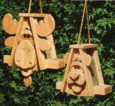Cedar Moose & Bear Bird Feeder Pair Woodcraft Patterns
