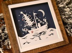 Festive Voyage Christmas papercut framed art  от PrettyPaperPetal