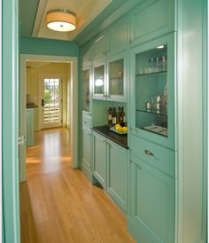 Butler's pantry in aqua.