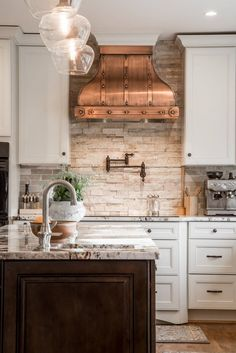 unique kitchen interior design white cabinets copper hood stone backsplash wood flooring - maybe for bathroom Country Kitchen Designs, French Country Kitchens, French Country Decorating, Country French, Modern Country, Modern Rustic, Kitchen Country, Rustic Stone, Country Office