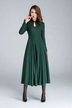 b369e0bfe1f8 Green wool dress, prom dress, midi dress, wool dress, elegant dress, party  dress, retro dress, mandarin collar dress, womens dresses 1621