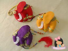 Natália Zelice Artes em Feltro: Mobile elefantes indianos coloridos