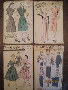 #4615, #4367, #5847 and #8131 4 Advance Women's Sewing Patterns. Each pattern appears to have directions and cut patterns but unknown if complete. #4615 Women's Blouse and Skirt bust 38-hip 41 size 20, #4367 Women's Long and Short Dress bust 38-hip 41 size 20, #5847 Maternity Suit Sleeveless Jacket and Skirt bust 38-waist 32 size 20 and #8131 Women's Dress size 18. Sld 33.89+4.95 9bds 9/26/15