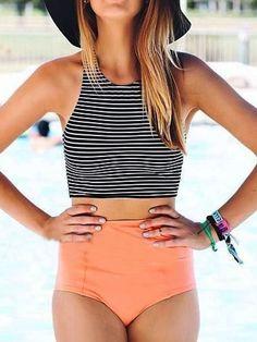 Shop Monochrome Stripe Bikini Top And Pink High Waist Bottom from choies.com .Free shipping Worldwide.$18.99