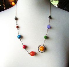 Planets Necklace Solar System the Nine Planets on Antique Brass Chain on Etsy, $32.00