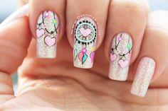 Pink love heart nails nail ideas acrylic nails, nails и pret Dream Nails, Love Nails, Pink Nails, Pretty Nails, Nail Swag, Indian Nails, Dream Catcher Nails, Mandala Nails, Valentine Nail Art