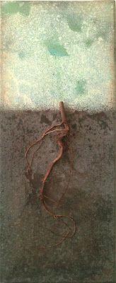 Lene Vidding, Root, 2012  Acrylic, thread,wire, woodon canvas