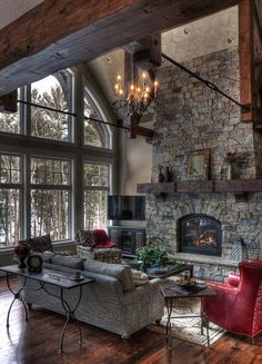AGAINI LIKE EVERYTHING IN THIS ROOM NEES A CEILING FAN 50 Sensational stone fireplaces to warm your senses