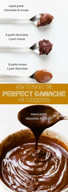 Easy chocolate ganache recipe easy that is perfect for everything! By combining chocolate and heavy whipping cream you can create cake filling poured glaze a spread or piped frosting a decorative drizzle or the base for truffles. For more simple baki Brownie Desserts, Easy No Bake Desserts, Dessert Recipes, Cupcake Recipes, Easy Chocolate Ganache, Chocolate Recipes, Cake Chocolate, Chocolate Cake Fillings, Coconut Dessert