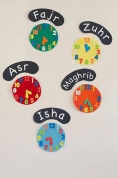 Prayer time clocks - great for Ramadan to see iftar and end of suhoor times! Eid Crafts, Ramadan Crafts, Ramadan Decorations, Diy And Crafts, Crafts For Kids, Islamic Prayer, Islamic Teachings, Ramadan For Kids, Spirituality