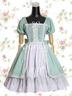 Himmel Blau und weiße Baumwolle Sweet Lolita Kleid